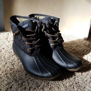 Sperry waterproof black rubber boots